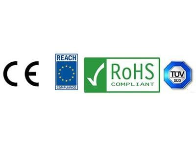 Common Era, Reach Compliance, RoHS Compliant, Technischer Überwachungsverein logos