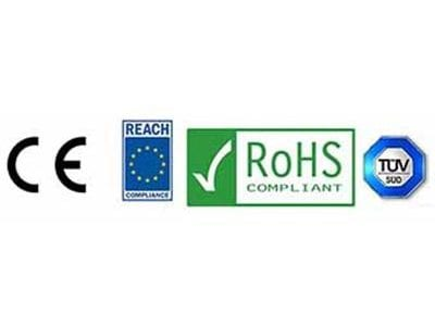 Common Era, Reach Compliance, RoHS Compliant and Technischer Überwachungsverein logos
